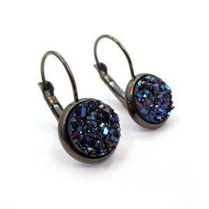 Metallic Purple Druzy Gunmetal Earrings Handmde